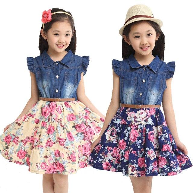 2016 летних девочек одежда детская одежда дети платье хлопок джинсовые девушки цветочный печати платья девушки платье принцессы с цветком
