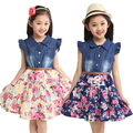 2016 summer girls clothing children clothes kids dress cotton denim girls floral print  dresses  girl princess dress with flower