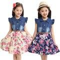 Roupas de verão 2016 meninas das crianças roupa dos miúdos vestido de algodão denim meninas da cópia floral vestidos da menina vestido de princesa com flor