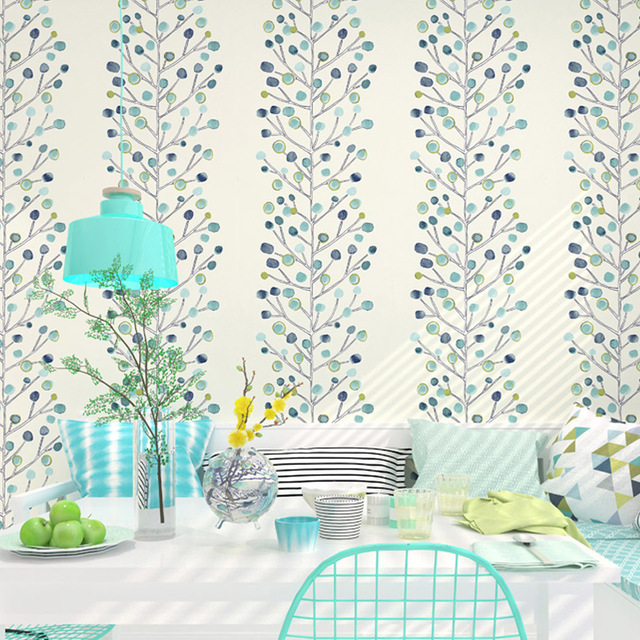 Blue Pink Colorful Berry Tree Floral Wallpaper For Women Non Woven Flower Wall Paper