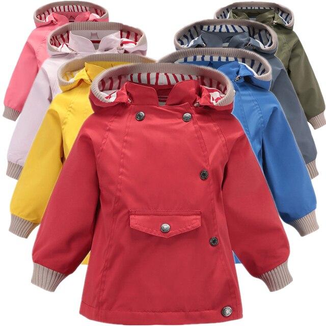 Abrigos y abrigos cálidos a prueba de viento y lluvia para niñas, chaquetas a prueba de viento con cuello para niños, chaqueta informal para exteriores para niños, Primavera