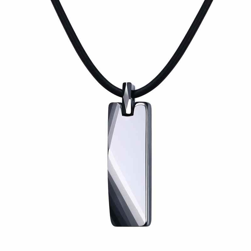 Modyle Mens Boys Chokers Tungsten Carbide Striped Pendants Necklaces With Black Rubber Rope Men Fashion Jewelry Collares