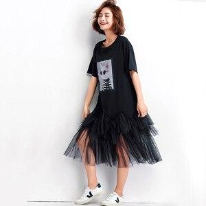 Image 2 - Oladiviプラスサイズ女性メッシュシャツドレスファッションプリント夏半袖カジュアルミディドレス女性ルースチュニック黒4XL 3XL