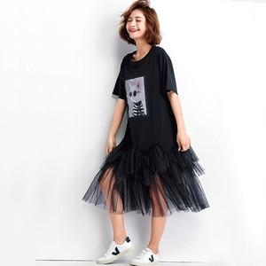 Image 2 - Oladivi Plus Size Vrouwen Mesh Shirt Jurk Mode Print Zomer Korte Mouw Casual Midi Jurken Vrouwelijke Losse Tunieken Zwart 4XL 3XL