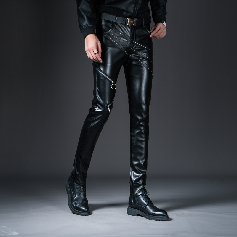 Mens punk slim fit faux leather pants moto biker winter fur lined drape trousers