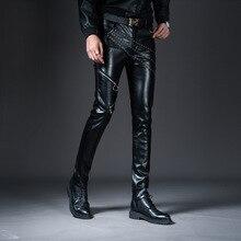 8d76af33e782f4 Męska dorywczo PU spodnie skórzane mężczyźni moda Zipper spodnie męskie  Slim Fit skórzane spodnie motocyklowe Punk Rock etap pok.