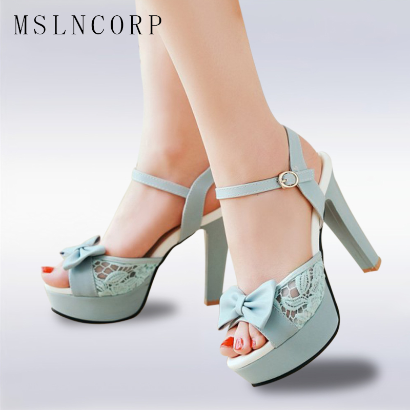 купить Plus Size 34-43 Fashion Women Sandals Platform High Heels Summer Open Toe Thin Heels Ladies Party Shoes Sexy stiletto lace Pumps по цене 1872.65 рублей
