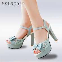 цена Plus Size 34-43 Fashion Women Sandals Platform High Heels Summer Open Toe Thin Heels Ladies Party Shoes Sexy stiletto lace Pumps онлайн в 2017 году
