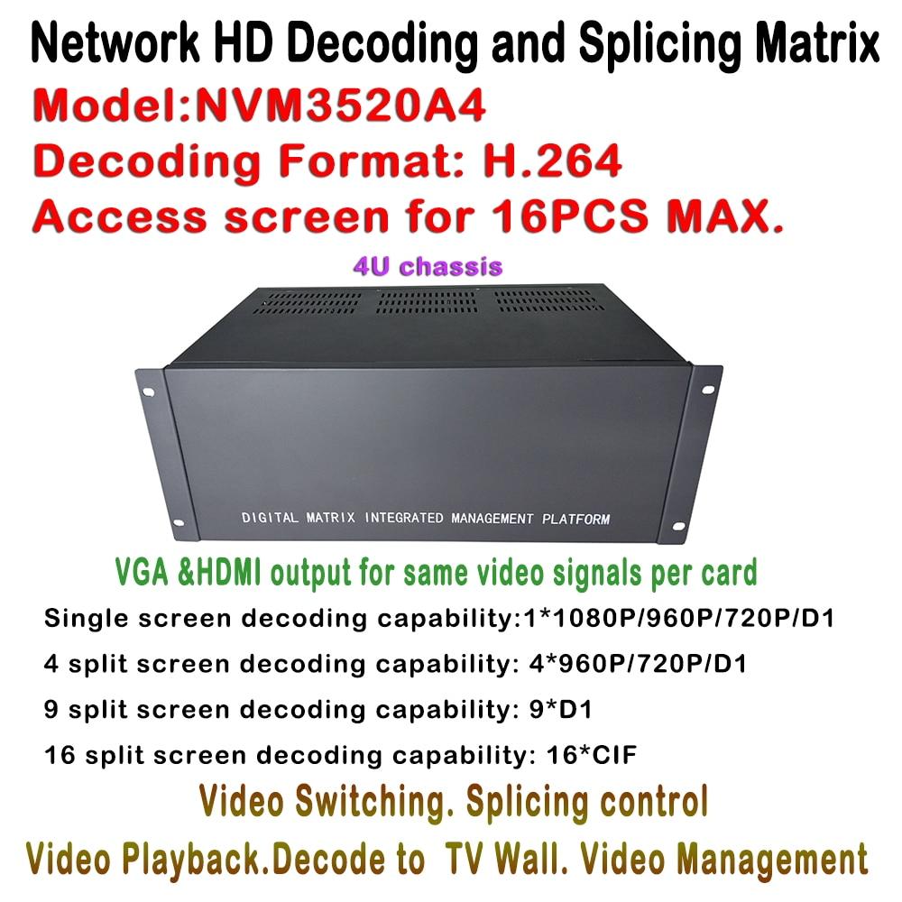 Cctv decoder IPC NVS Matrix Switcher 16ch Max Screen HDMI VGA Output, Support onvif ip network video camera for TV Wall Display