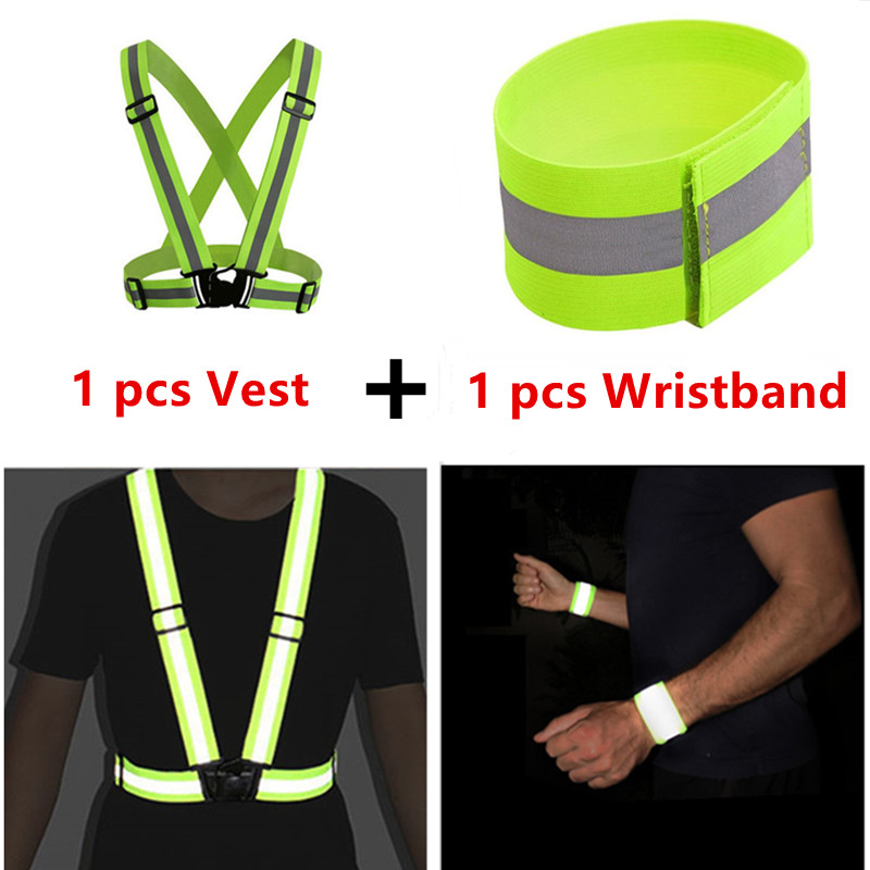 Reflective Vest+ Wristband High Visibility Unisex Outdoor Running Cycling Safety Vest Adjustable Elastic Strap Fluorescence Work