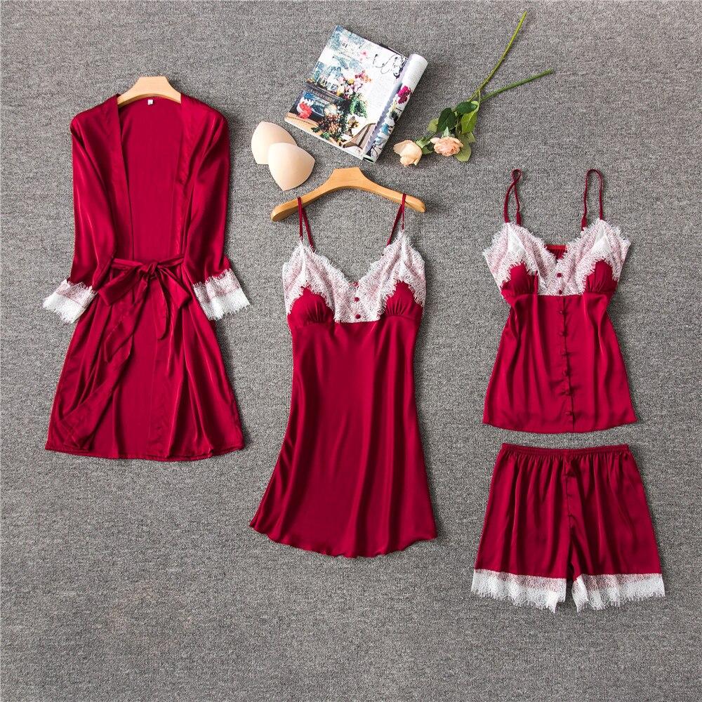 Daeyard Women Silk Pajamas 4 Pieces Pajama Sets Sleepwear Sexy Lace Trim Sleep Lounge V-Neck Robe Pyjamas Spring Summer Homewear