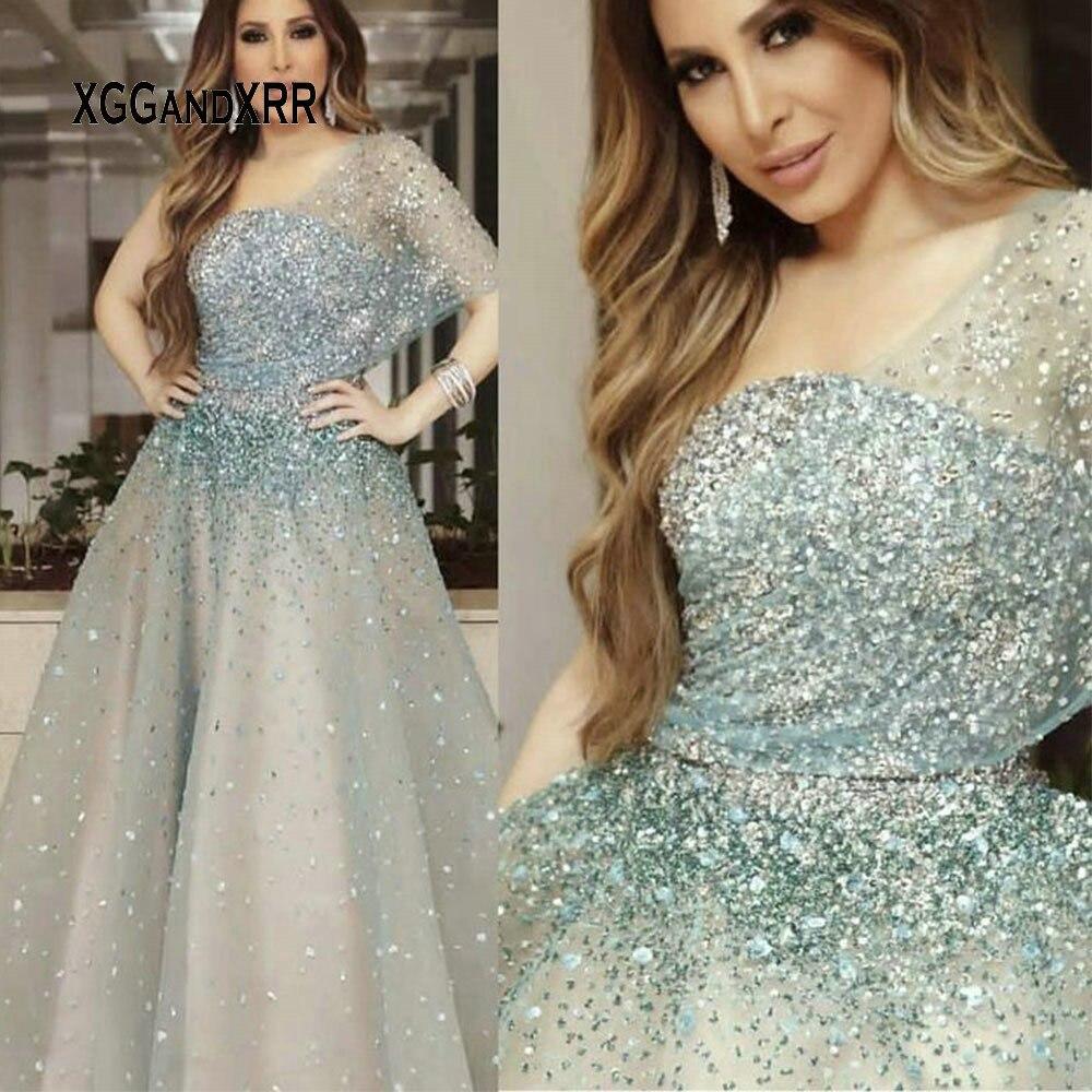 Superbe perles cristal longue robe De bal 2019 Vestidos De Festa une épaule Sexy dos nu princesse robe De soirée grande taille