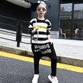 Primavera Otoño ropa para niños set Trajes de Impresión kids trajes del deporte patchwork Hip Hop danza pantalón y sudadera HB1171