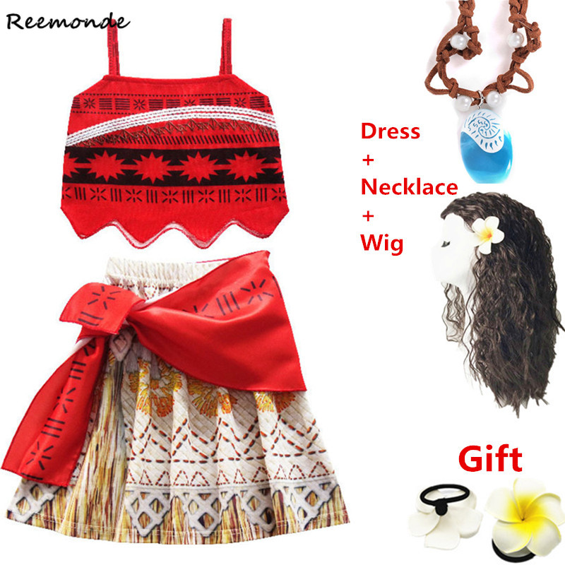Movie Moana Costumes Princess For Children Skirt Necklace Swimsuit Moana Synthetic Wigs Hair Kids Girls Fancy Dress