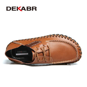 Image 2 - DEKABR Brand Genuine Leather Men Shoes High Quality Lace Up Casual Shoes Men Summer Stylish Daily Oxford Flats Fashion Men Shoes