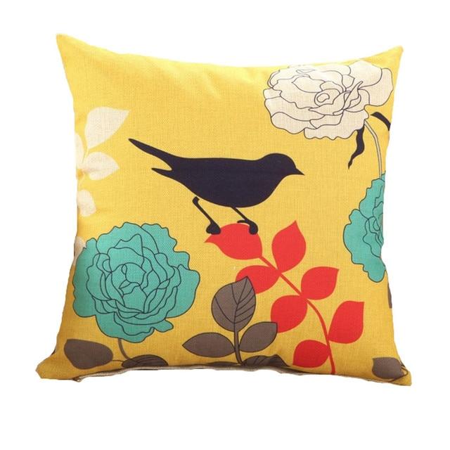 Digital Print Cushions Without Insert Tree Birds Yellow Design Sofa Decorative Throw Pillows For Car Seat Decorativos Sfn
