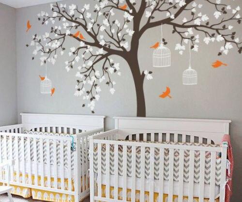 Grande taille Cage à oiseaux arbre pépinière Stickers muraux amovible vinyle décalque enfants bébé chambre décor mur art affiche