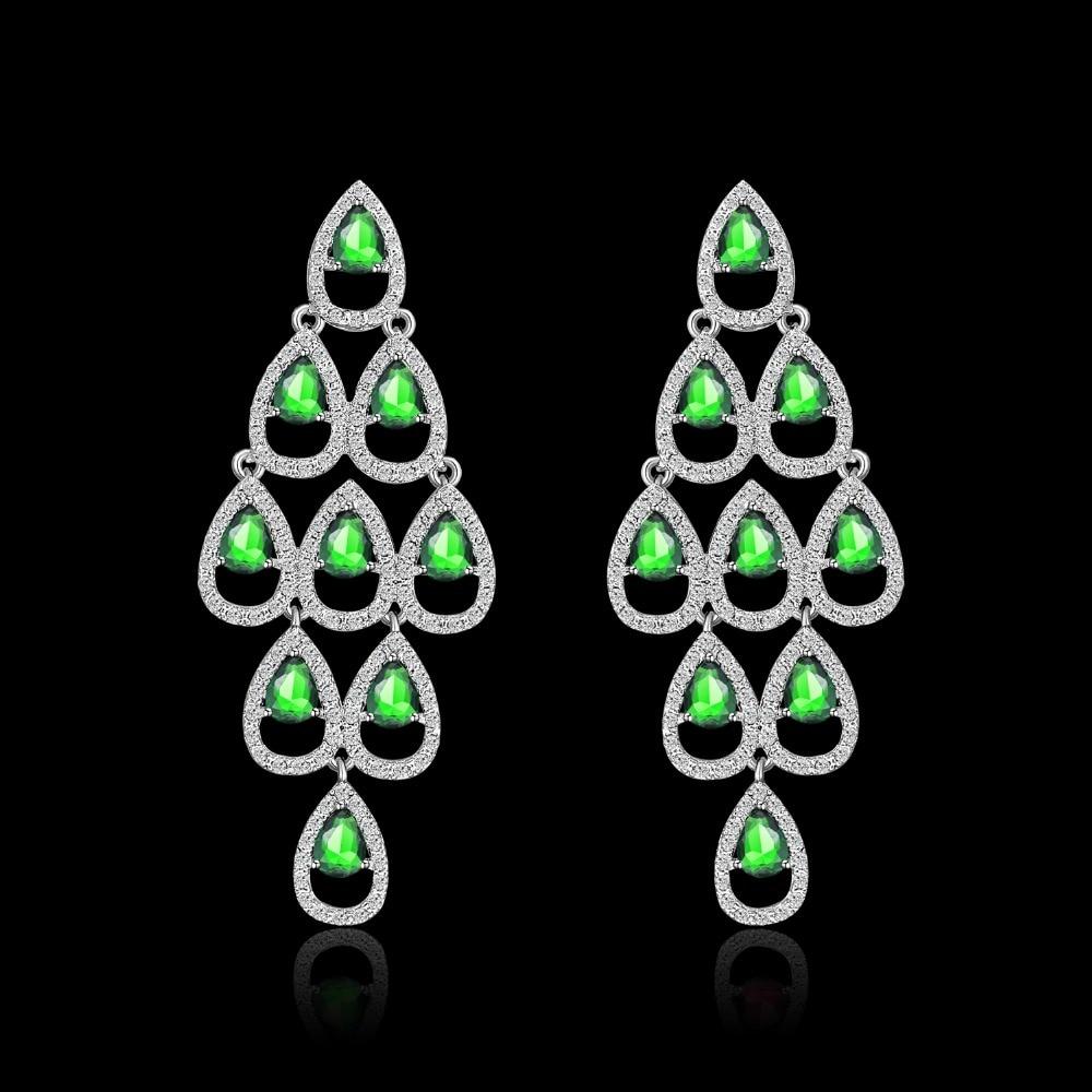 ladies silver wedding bridal gift jewellery drop dangle earring necklace set JJ4