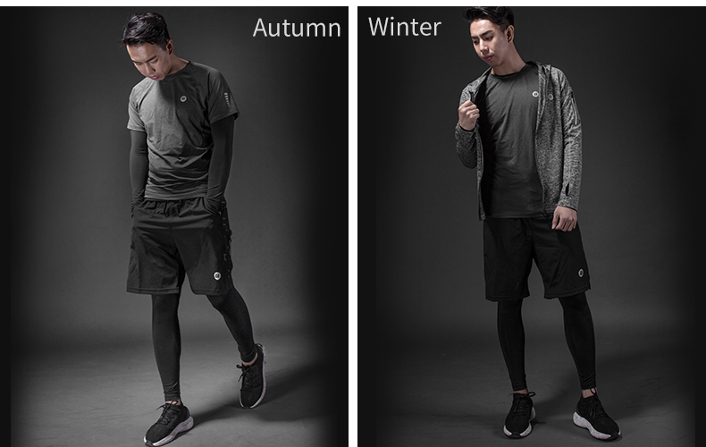 Photo of winter ROCKBROS men's training quick dry suit 5 pcs. 5 pcs male running set sweat absorbent