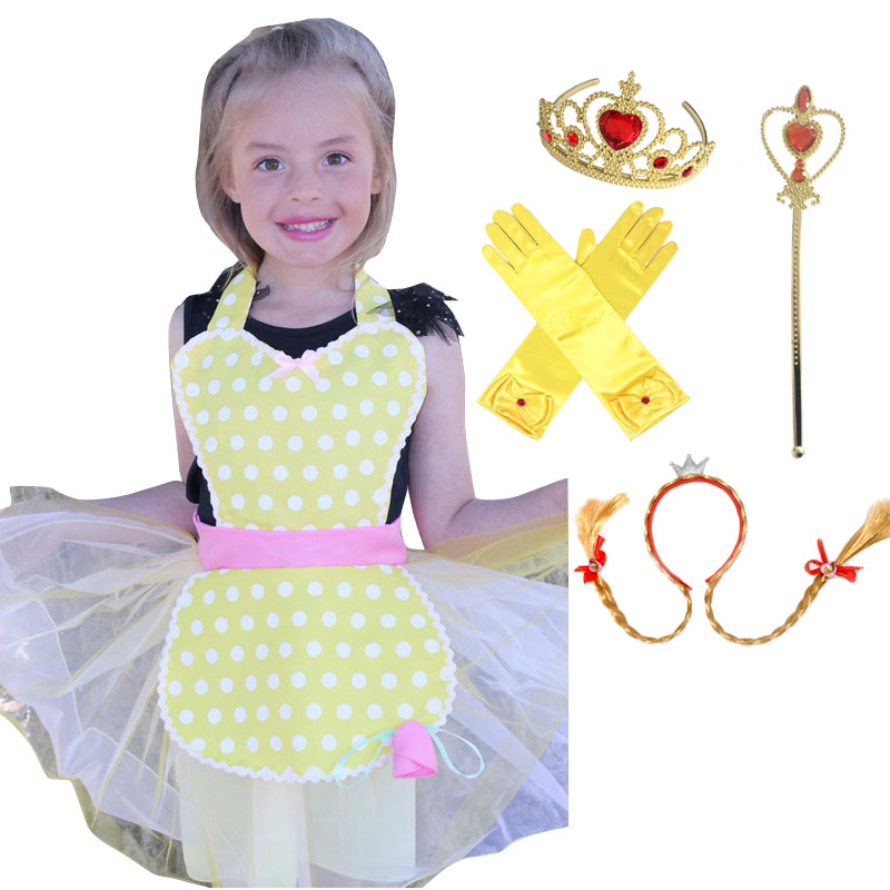 Belle Costume Girls Apron Cape Mask Tiara Wand Glove Braid Halloween Cosplay Party
