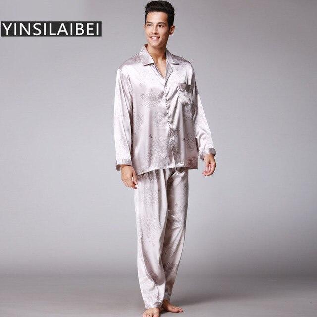 d006193c419b7 2 pièces/ensemble hiver Faux soie Pyjamas hommes Sexy mâle Pyjamas à manches  longues Satin