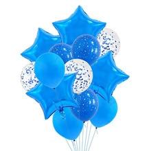Menino azul tema primeiro aniversário ar látex confetes folha balões chuveiro do bebê menino menina bola de ar crianças balões de festa decorações