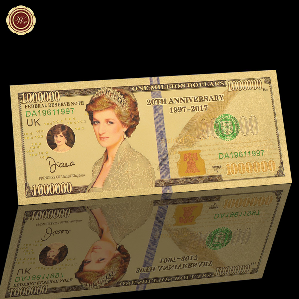 WR The Princess of Diana 24k Gold Banknote Collectible Business Souvenir Gifts Paper Money