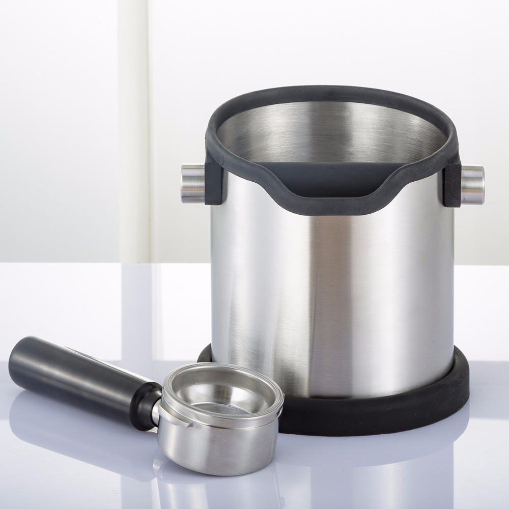 Stainless steel knock box and coffee grind container for portafilter espresso