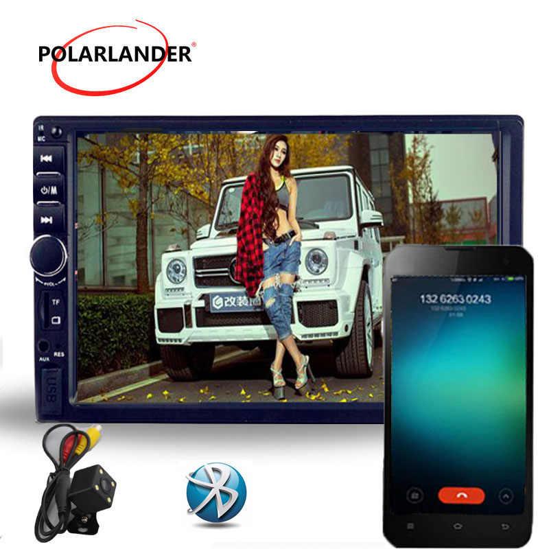 "7 ""pulgadas Universal 2 Din HD soporte 5 idiomas menú bluetooth FM TF USB Radio coche reproductor MP5 MP4 pantalla táctil espejo enlace"