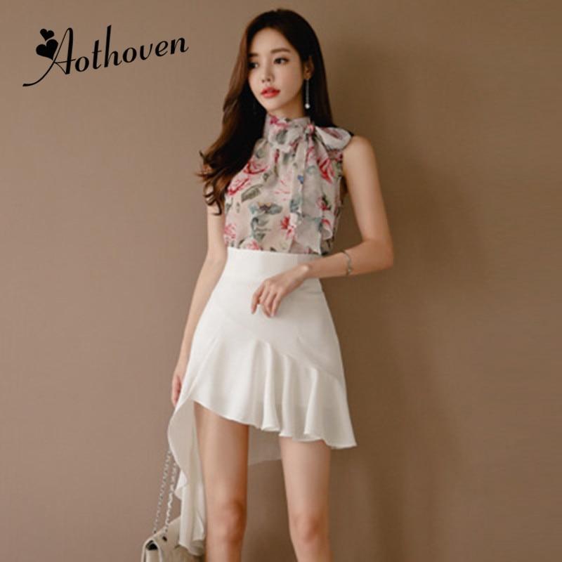 2 Piece Set Women Suit Summer Print Bow Sleeveless Chiffon Blouse Shirt Tops and White Asymmetrical