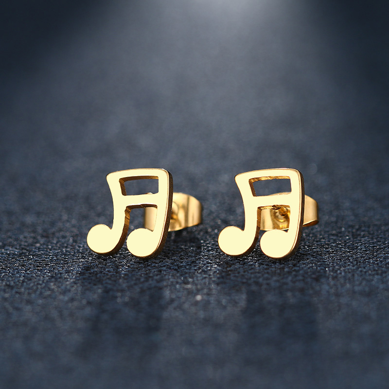 Cacana Stainless Steel Stud Earring Musical Notes Gold And Silver IMG_5502
