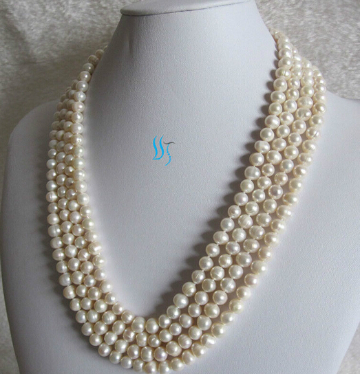 FREE SHIPPING>>@>  90 6-8mm White Cultured Freshwater Pearl Necklace Natural Color new new NEWFREE SHIPPING>>@>  90 6-8mm White Cultured Freshwater Pearl Necklace Natural Color new new NEW