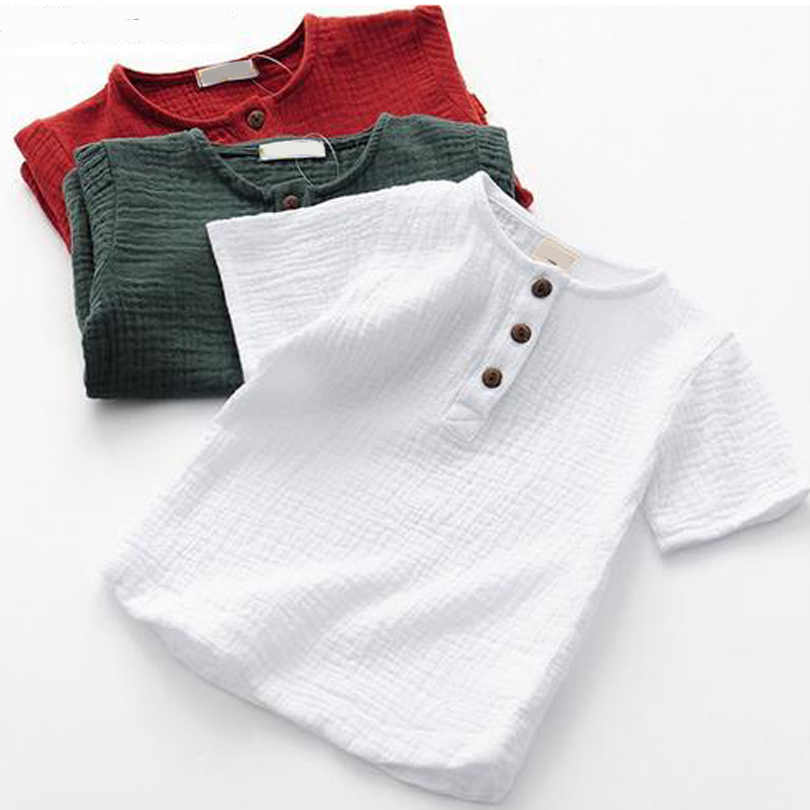 2020 Girls Tshirts Kids Cotton Clothes children t-shirts for baby boys t shirts  candy solid short sleeve summer Tops linen
