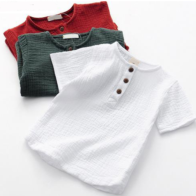 Girls Tshirts Short-Sleeve Linen Summer Tops Candy Baby-Boys Kids Cotton Children Solid title=