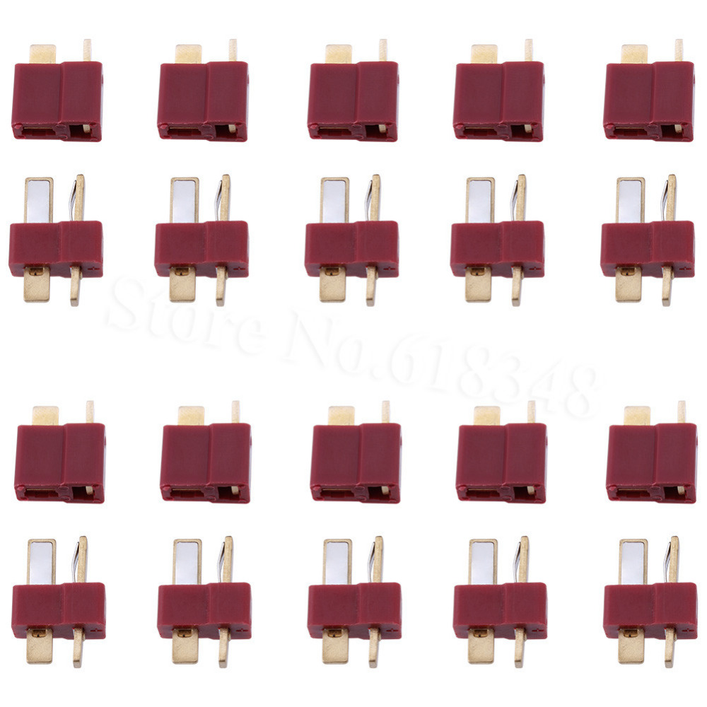 10 Pairs T Plug Connectors Deans Style Male and Female Connectors For ESC LIPO Battery Electric Engine Motor