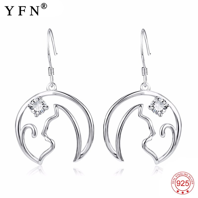 Genuine 925 Sterling Silver Earrings Cute Cat Hollow Round Drop Earrings Crystal CZ Fashion Jewelry Earrings For Women PYE0022