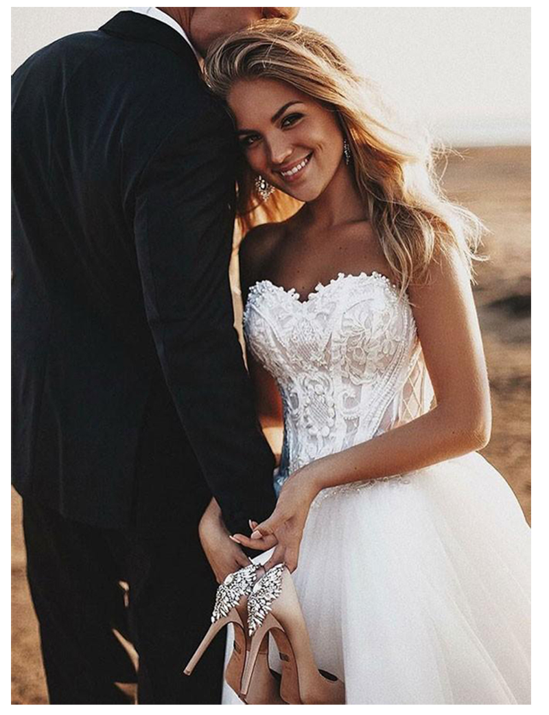 Image 4 - SoDigne Beach Lace Strapless Informal Wedding Dresses 2019  Sleeveless Bride Dress Lace Up Back White/Lvory Wedding Gowns-in Wedding Dresses from Weddings & Events