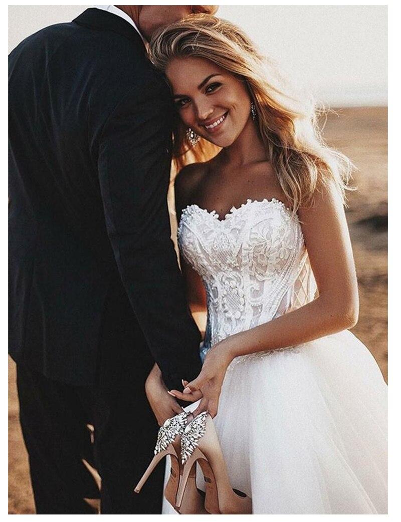 Image 4 - Sodigne 비치 레이스 strapless 비공식 웨딩 드레스 2019 민소매 신부 드레스 레이스 위로 화이트/lvory 웨딩 드레스결혼식 드레스결혼식 및 행사 -
