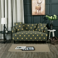 Deep Green Polyester Sofa Cover Pretty And Cute Yellow Flowers Printed Universal Sofa Slipcover With Elastic