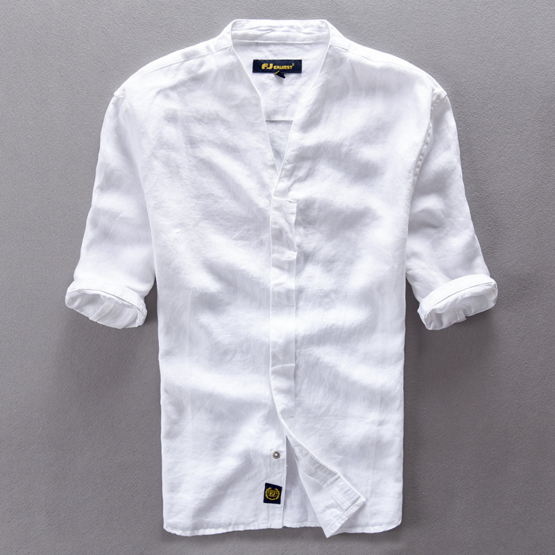 Brand Clothing Linen Men Shirts Short Sleeve Mens Casual Business Cotton Dress Shirt For Men Camisa Masculina Chemise Homme