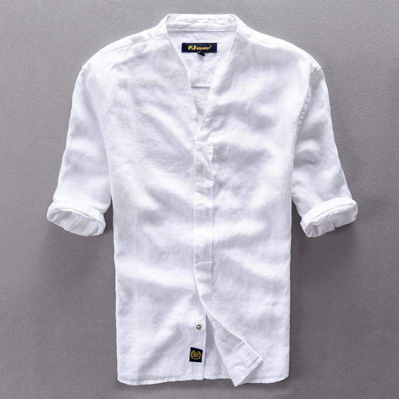 Brand Clothing Linen Men Shirts Short Sleeve Mens Casual Business Cotton Dress Shirt For Men Camisa Masculina Chemise Homme