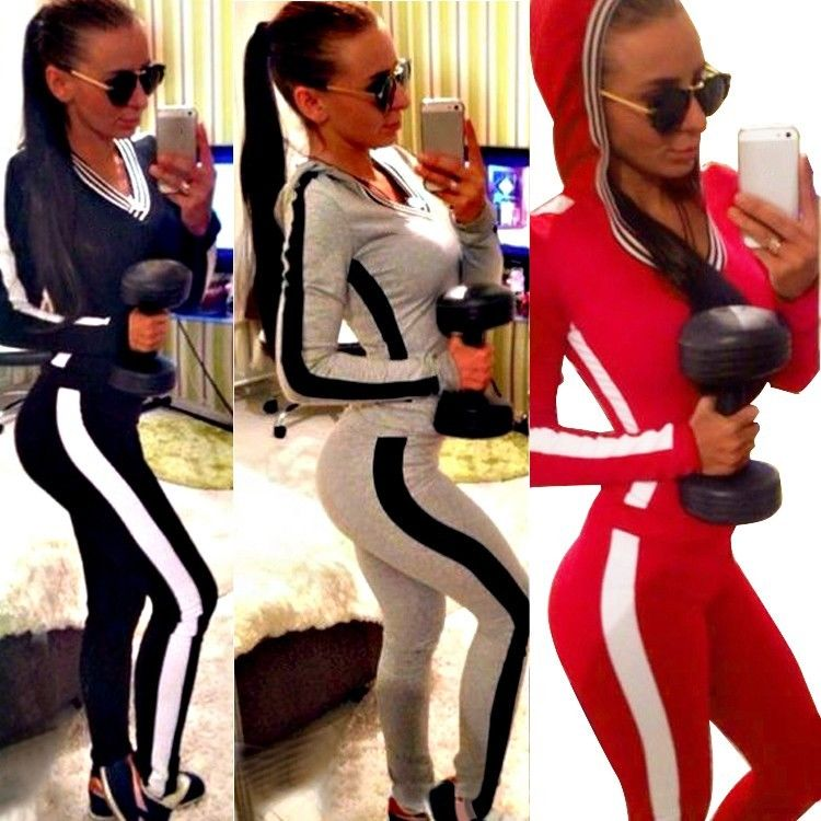 2Pcs Women Tracksuit Hoodies Sweatshirt Pants Sets Sport Wear Zipper Casual Suit