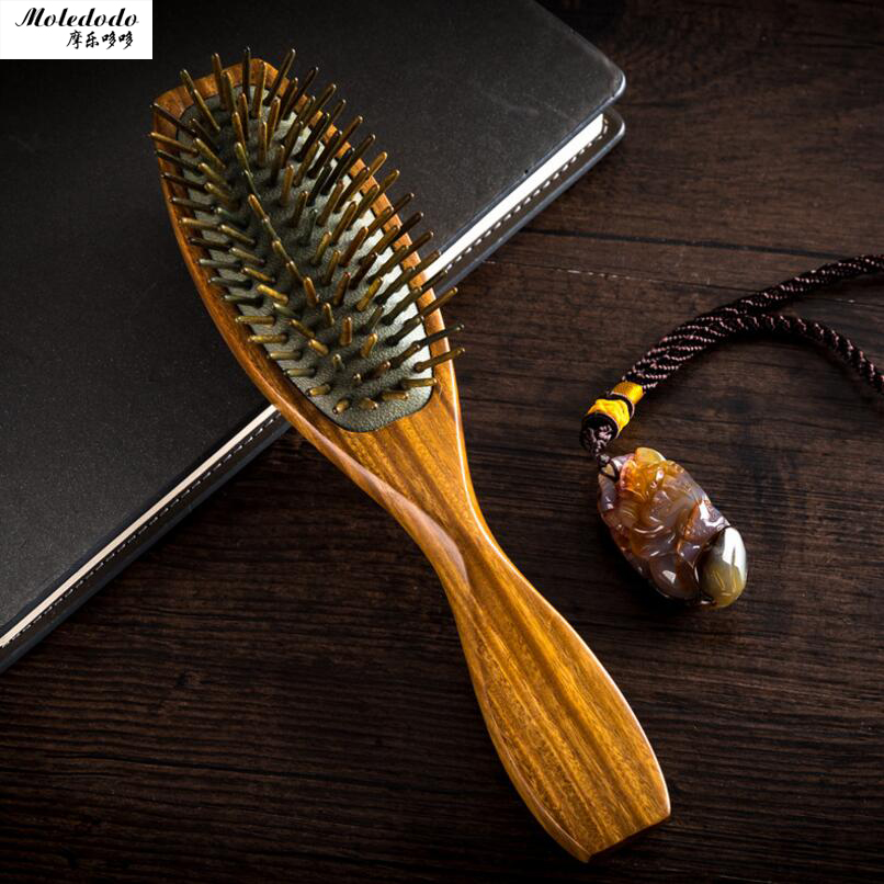 Healthy Massage Antistatic Hairbrush Massage Health Comb Natural Green Tan Comb Massage Airbags Comb Sandalwood Hair Brush D20