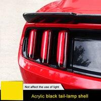 QHCP акрил 6 шт. сзади автомобиля хвост свет лампы Обложка протектор Стикеры Копченый Черный Авто интимные аксессуары для Ford Mustang 2015 2016 2017