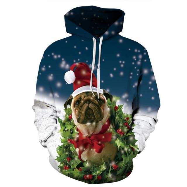 2019 Winter Christmas Hoodies Women Men 3d Sweatshirts Pug Snow Tree