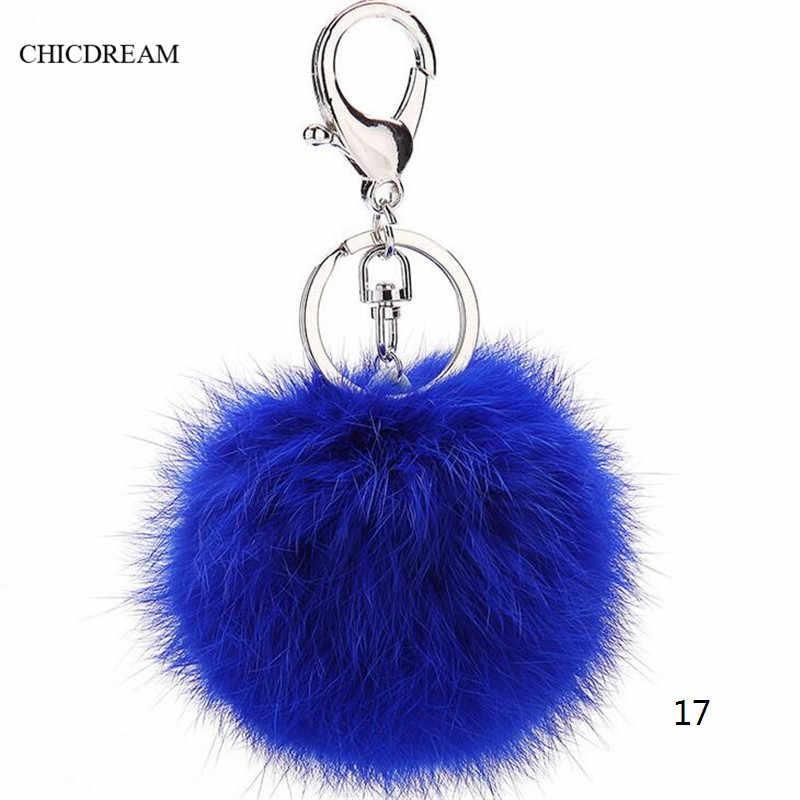 5f11ca68883f 15 Colors Keychain Rabbit Fur Pom Pom Fur Ball KeyChain Silver Plated  Keyring Key Chain Holder