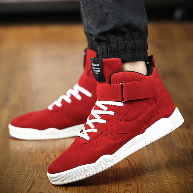 59fa86226ab New Spring Men Shoes Trainers Leather Fashion Casual High Top Sport Walking Lace  Up Ankle Boots For Men Red Zapatillas Hombre-in Men s Casual Shoes from ...