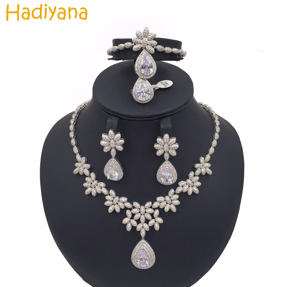Hadiyana Water-drop Sparkling Cubic Zircon Snowflake 4pcs Set Luxury Wedding Jewelry Bridal Big Sets For Women Sliver Gold CN165 цены онлайн