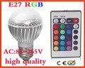 [ E27 RGB LED Lamp ] 9W AC100-240V led Bulb Lamp 16 color change with Remote Control multiple colour led lighting E14 free ship