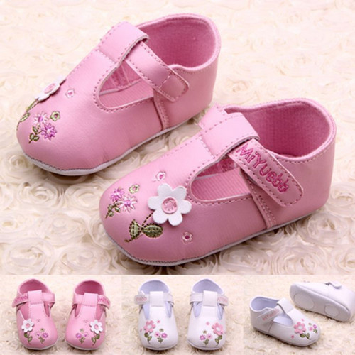 Baby Soft Sole Shoes Todder Pre-walker Shoes Girl Prewalker Girls PU Leather Shoes Cute Flower Infant First Walkers
